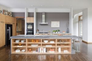 open shelves kitchen island