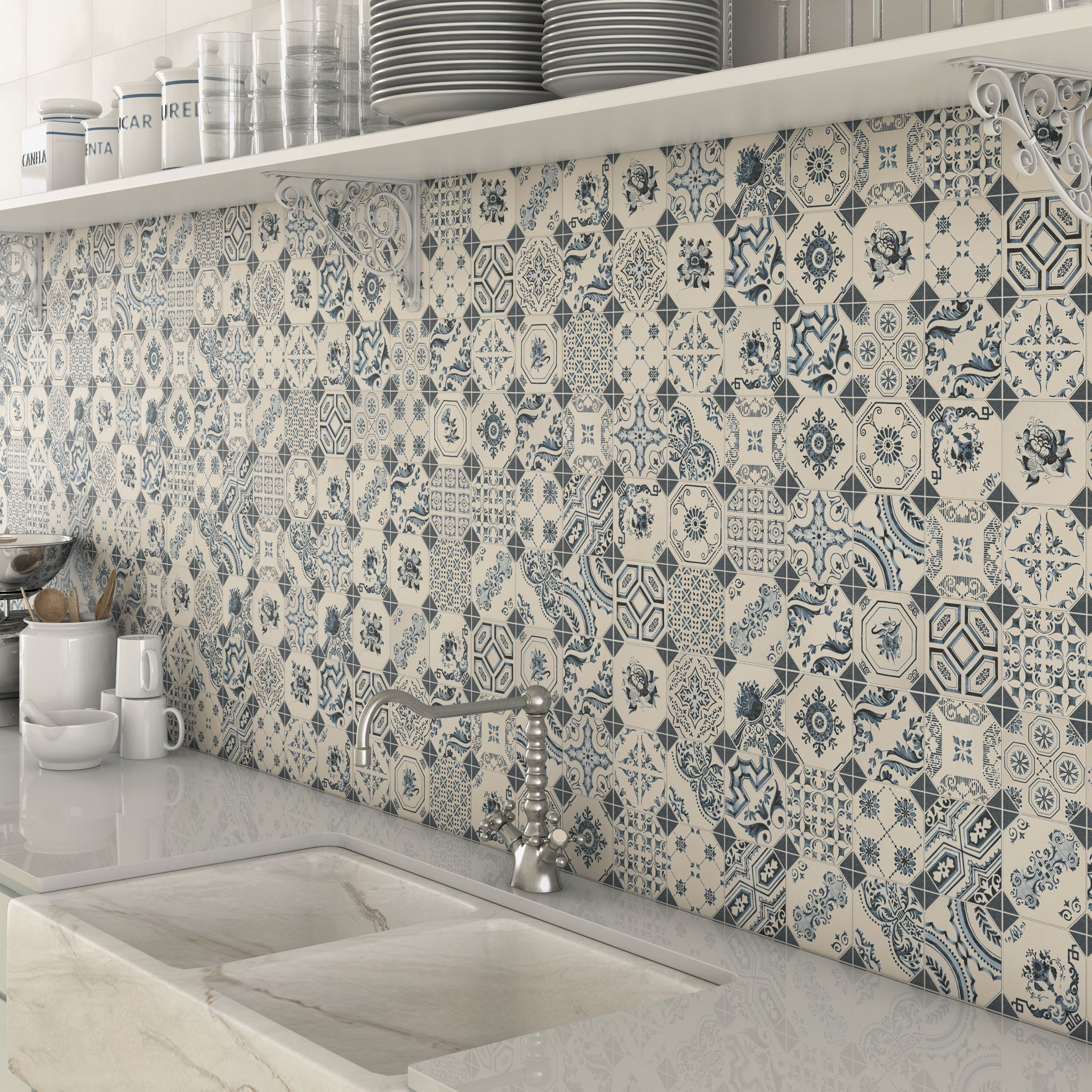 Blue Pattern Mosaic Tile Splashback