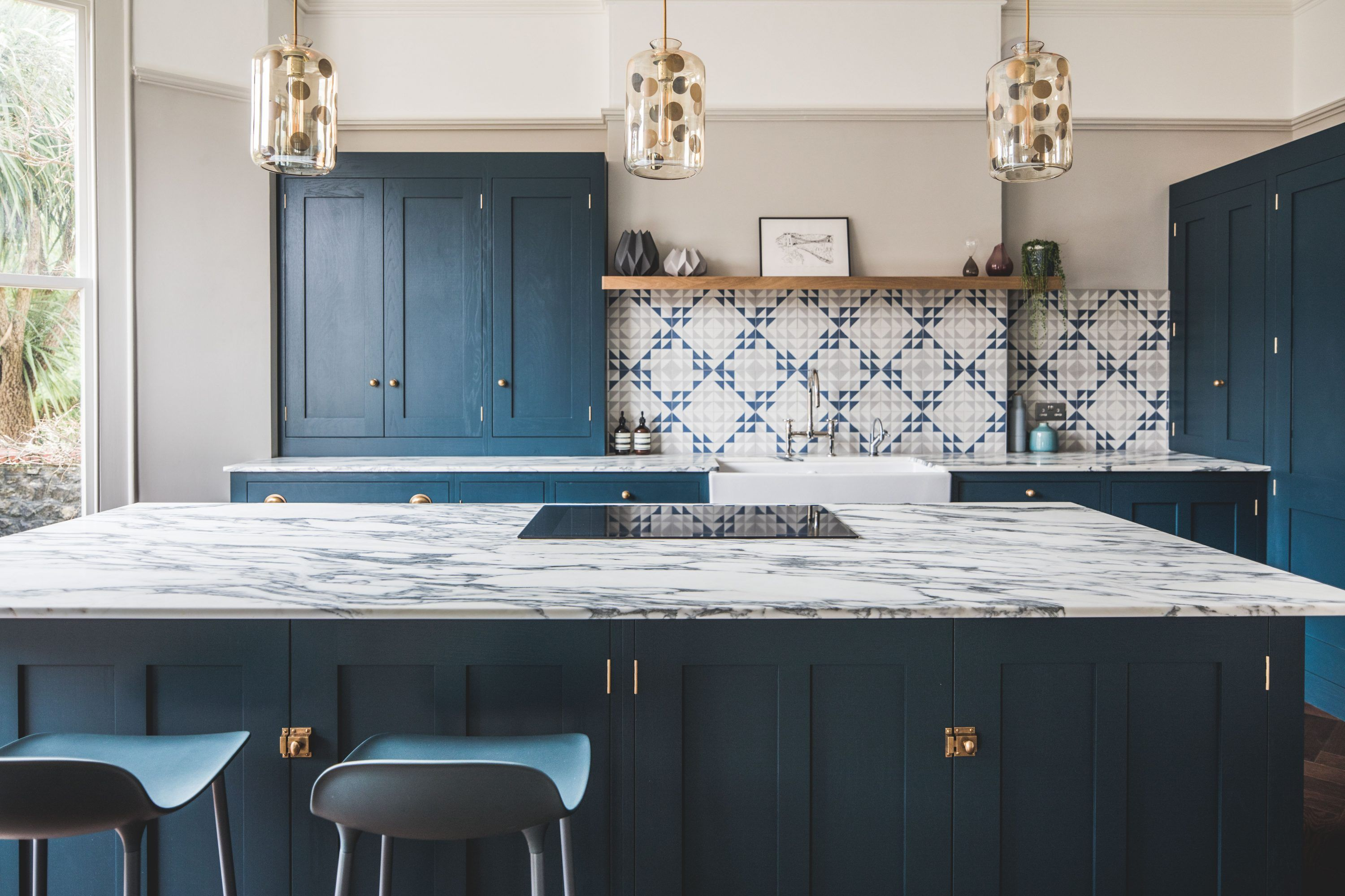 Dark Blue Geometric Splashback