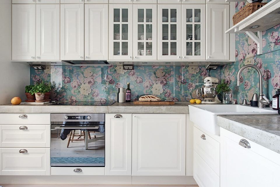 Floral Fabric Splashback