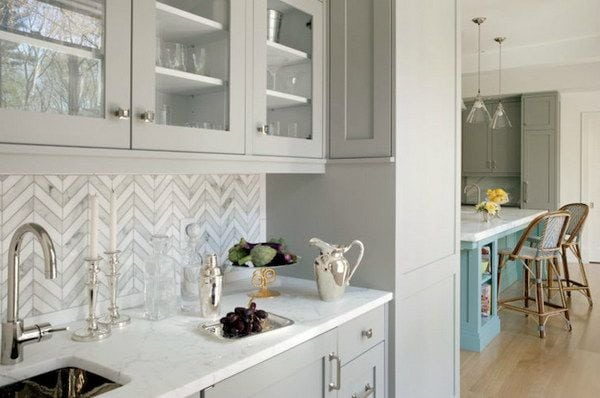 Grey Chevron Marble Tile Splashback
