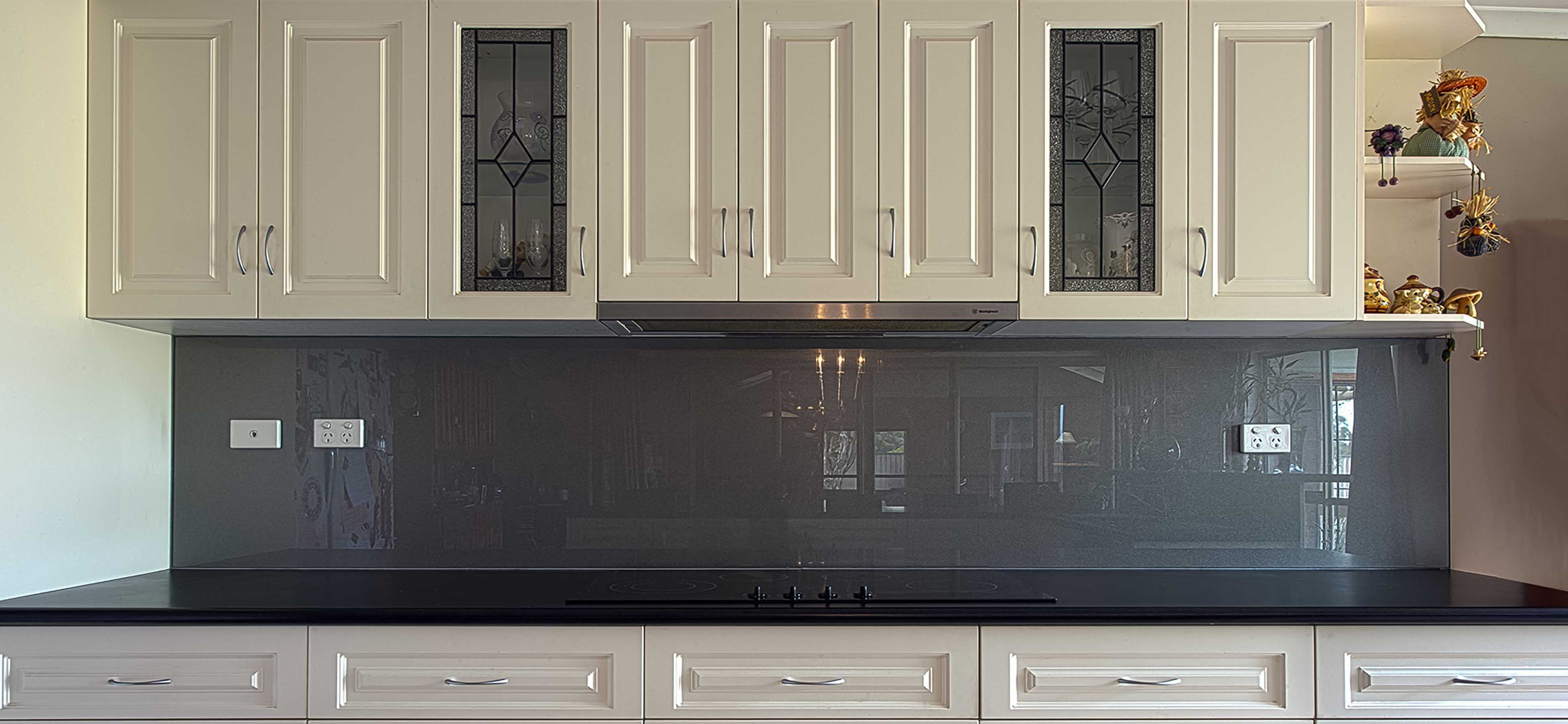 Grey Metallic Kitchen Glass Splashback