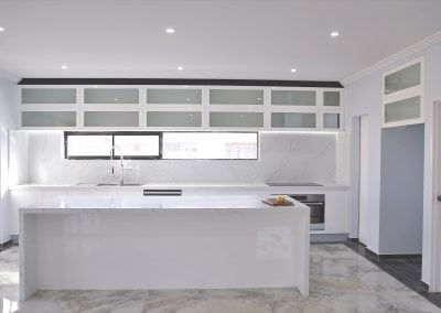 clean white marble kitchen