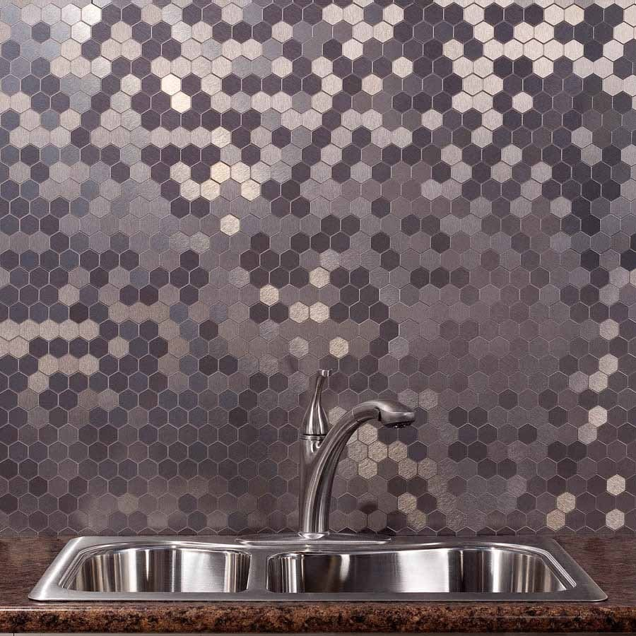 Shades of Grey Hexagonal Tiled Splashback