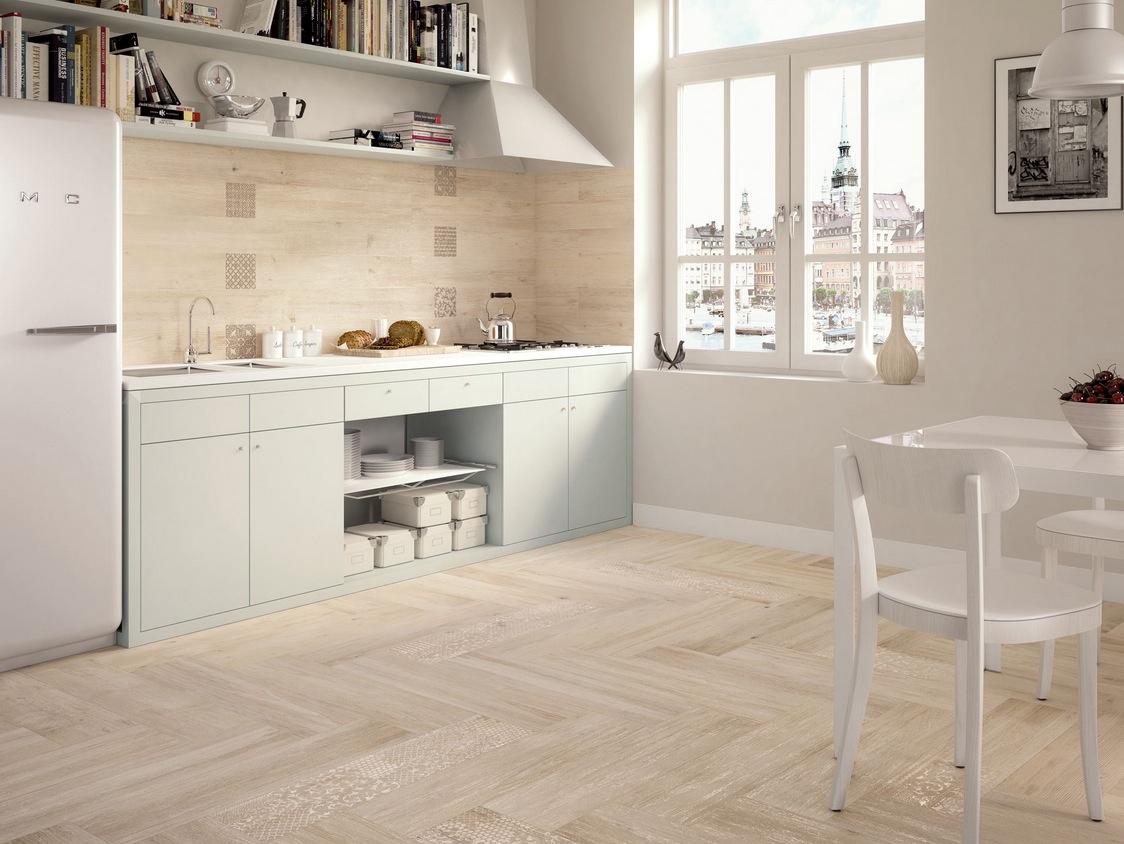 White Kitchen With Light Wood Floors Light Wooden Tiled Kitchen Splashback And Floor Wood Floor Tiles