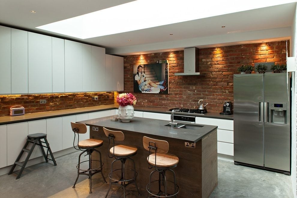 Brick Splashback exposed brick kitchen splashback kitchen victorian with square tile 990 X 660 pixels