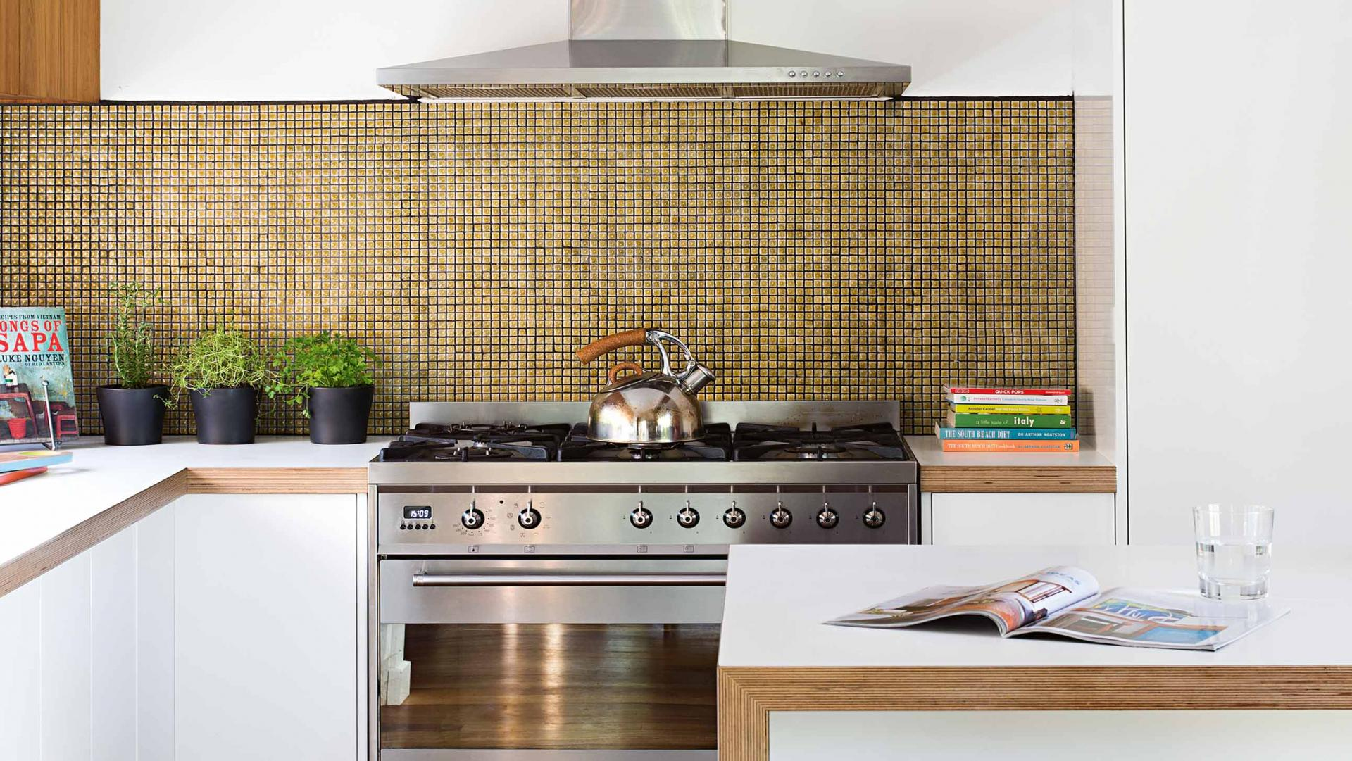 mosaic gold tiles splashback