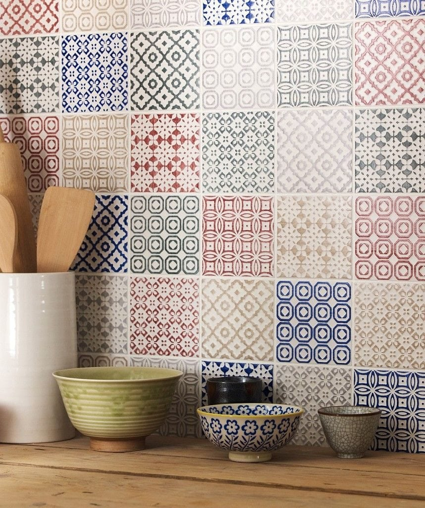 patchwork tile splashback
