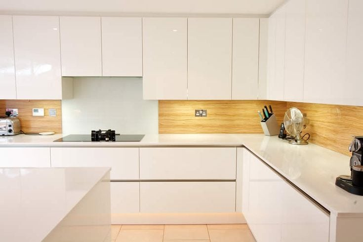 wooden splashback