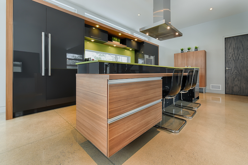 Modern kitchen island with integraded drawers